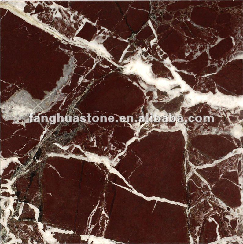 red marble rojo alicante tiles with white veins