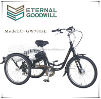 7 speeds e trikes bikes with 36V 9A Li-ion electric cargobike/bakfiets/cargo bicycles UB9036E