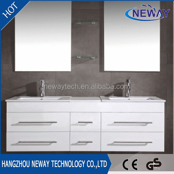 Simple white wall mounted double bowl elegant bathroom cabinets