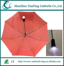 new design fashion auto open and close plastic handle torch 3 folding umbrella