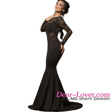 Dear Lover 2016 Latest Design Women Black Long Lace Sleeve Mermaid Evening Prom Dress