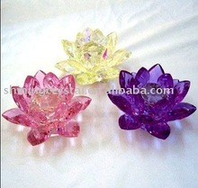 colorful crystal candle holders in lotus shape