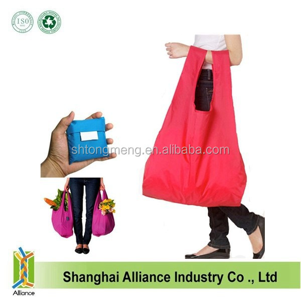 Wholesale 210D Cheap Reusbale Folding Shopping Plastic Bag