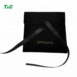 Custom Printed High Quality Suede Jewelry Makeup Envelope Flap Pouch Drawstring Velvet Jewelry Bag Wholesale