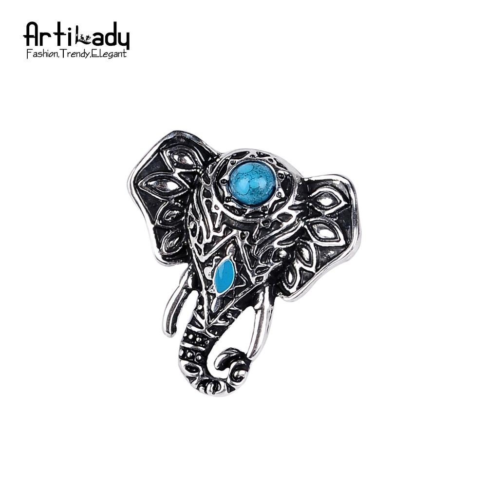 Artilady natural turquoise elephant ring adjustable size vintage Bohemia boho jewelry rings for women jewelry party