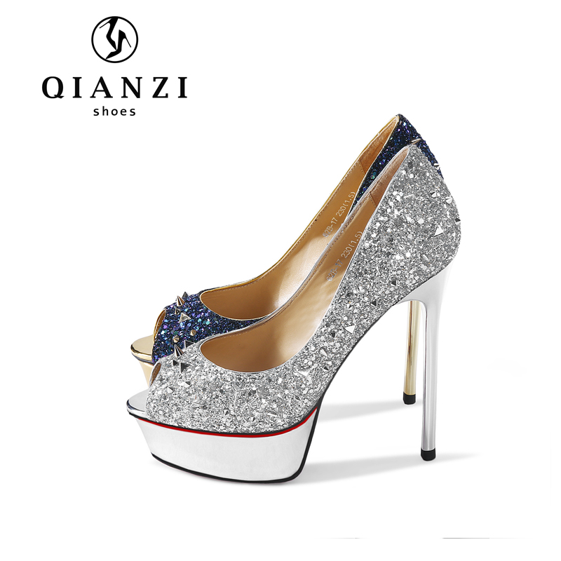 Y019 new product sparkly high heels royal blue and silver pumps shoes