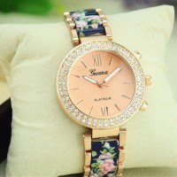GENEVA Platinum Flower Bracelet Watch, Stainless Steel Rhinestone Lady Wristwatch