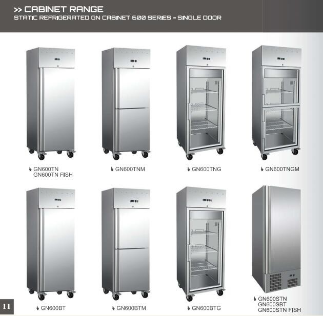 catering /restaurant/buffet equipment, stainless steel kitchen refrigerator , GN cabinets, glass door optional