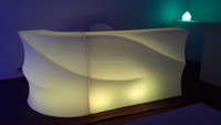 Waterproof villa pool party PE plastic curved bar counter for sale led outdoor furniture