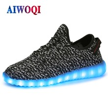 AIWOQI D035 led shoes for men & women app remote control fly weaving light up shoes