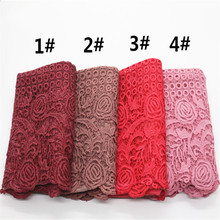 Solid Color High Quality Muslim HIjabs Hollow Lace Scarf Flower Borders Pashmina Women Cotton Scarves