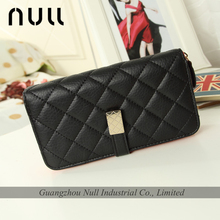 generous special stitching style lady wallet with metal shinning accesory