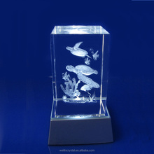 yi wu cheap price wedding gifts crystal crafs Souvenir led lighting marine fishes 3d laser engraving gifts