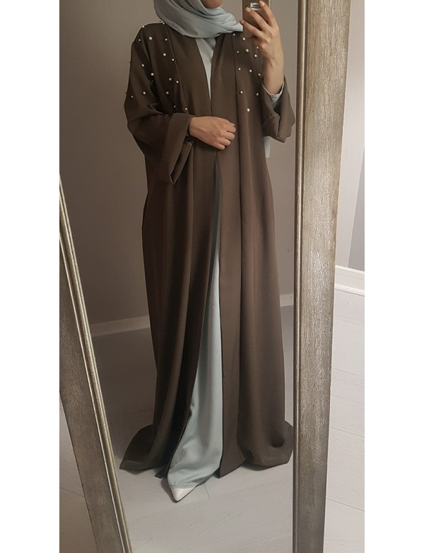 Latest Fashion Dubai Muslim Abaya Kimono with White Pearls Long Dresses Arabic Style