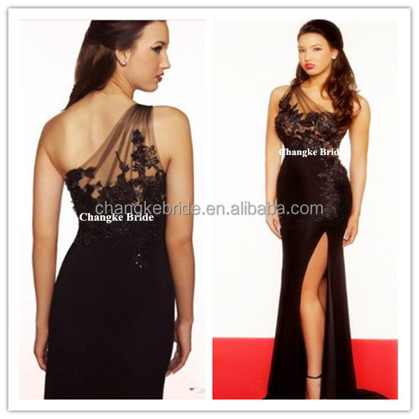 Women One Shoulder Black lace exotic prom dresses made in China