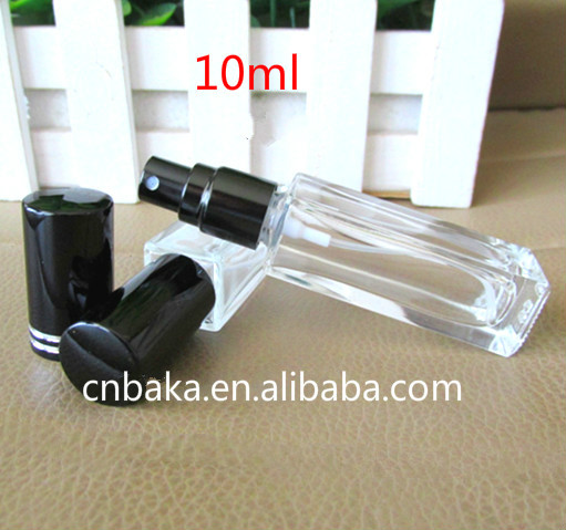 10ml clear square shape spray glass bottle,perfume packing liquid glass vial,small body lotion sample bottle