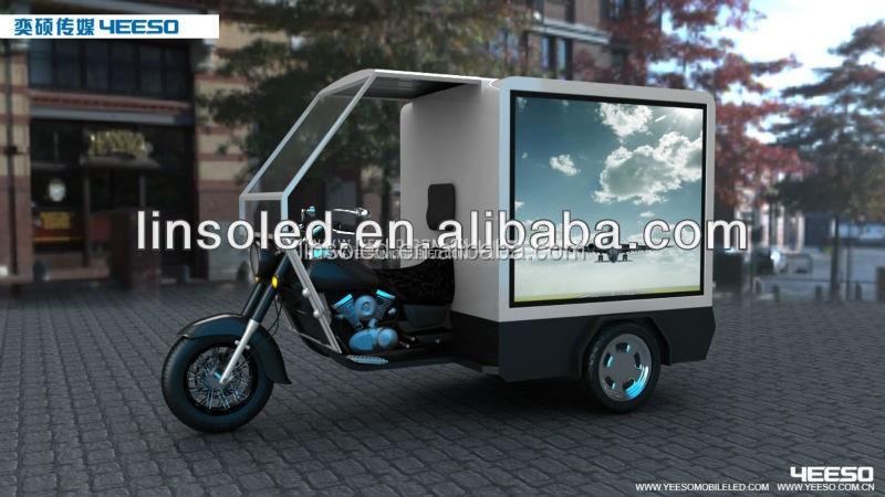 Mobile Three-wheel Motorcycle with Cargo Box Mounted Outdoor Full Color LED Video Screen or Scrolling Light Box For Sale