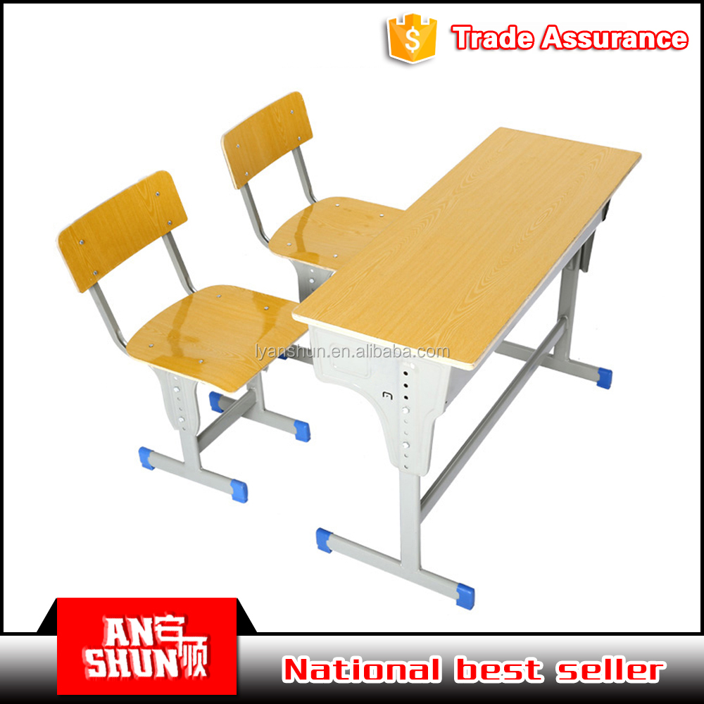 College student use metal steel frame MDF top panel study desk and chair