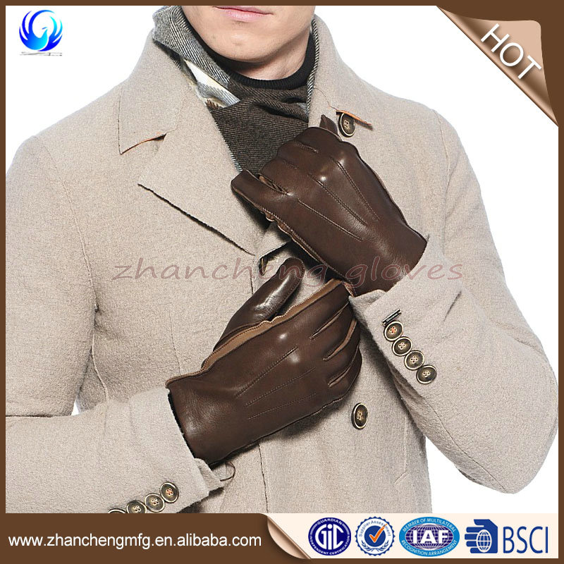 New fashion man sheepskin leather gloves buyers with wool lined