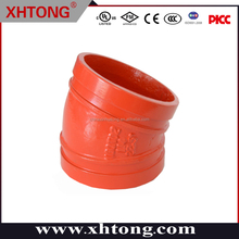 ductile iron RAL3000 22.5 degree elbow CCC FM casting technics red orange 88.9mm 139.7mm