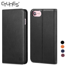 Genuine Magnetic Closure Leather Flip Folio Book Wallet Cover Case Stand Card Slots ID Holder For iPhone 7