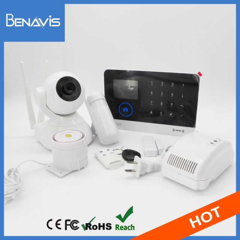 gsm pstn dual network security wireless smart burglar alarm system with gps sensor optional