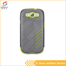 Wholesale price gray and green color tpu pc shockproof phone cover for samsung galaxy s3 case