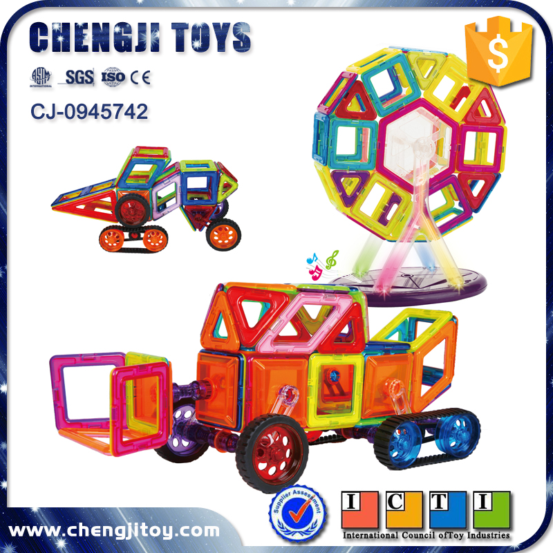 Educational geometrical shape building blocks set DIY magical magnet connect toys bricks 168 pcs