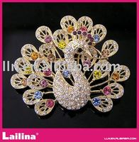 LARGE Multi color crystal rhinestone HUGE peacock phoenix bird fashion pin brooch