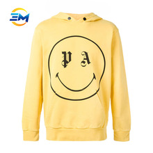 Wholesale faint yellow blank logo velour hoodie with cotton fleece