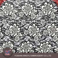 OEM custom qmilch black flowers embroidery patterns custom embroidered fabric with elastic lace