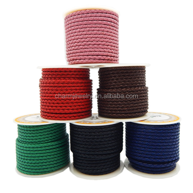 Wholesale Round Braided Leather Cord for Bracelet and Necklace Welcome OEM Color & Size MDPS001