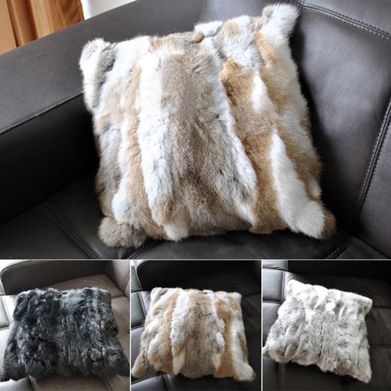 Real Rabbit Fur Throw Pillow Soft Sofa Cushion Cover Home Office Custom Rabbit Fur Pillow Cover