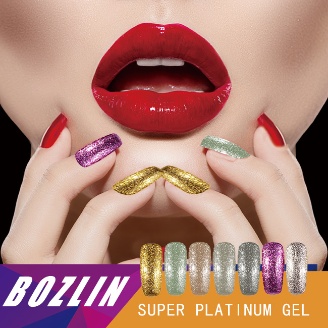 2017 New BOZLIN supply nail art Venalisa 12 color supper diamond shining glitter sequins starry platinum paint gel