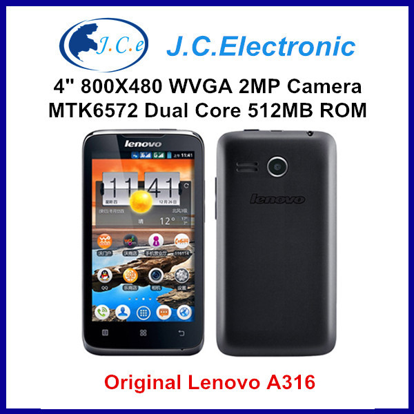 Original Lenovo A316 4 Inch 800x480 MTK6572 Dual Core Russian Android 2.3 Mobile Cell Phone GPS BT WCDMA