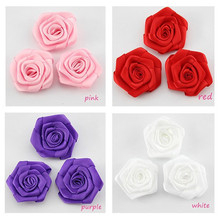hot sale colorful handmade satin ribbon flowers for hair craft
