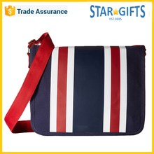 2016 Factory Price New Design Stylish Stripe Canvas Laptop Messenger Bag