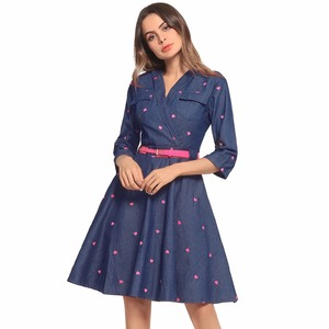 2018 Mulheres Formal Denim Camisa Vestido Ladies Clothing Jeans Dress