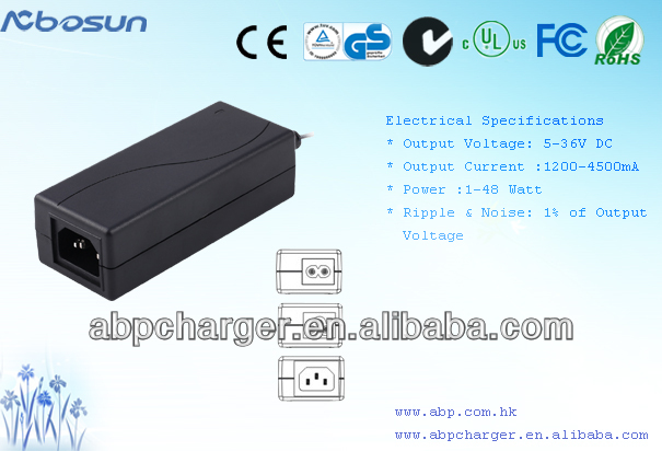 SMPS Switching power adapter with UL/cUL,FCC,CE,GS,CB,C-TICK
