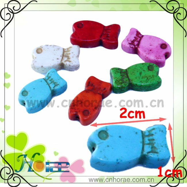 lovely and colorful fish shape loose turquoise stones for jewellry making