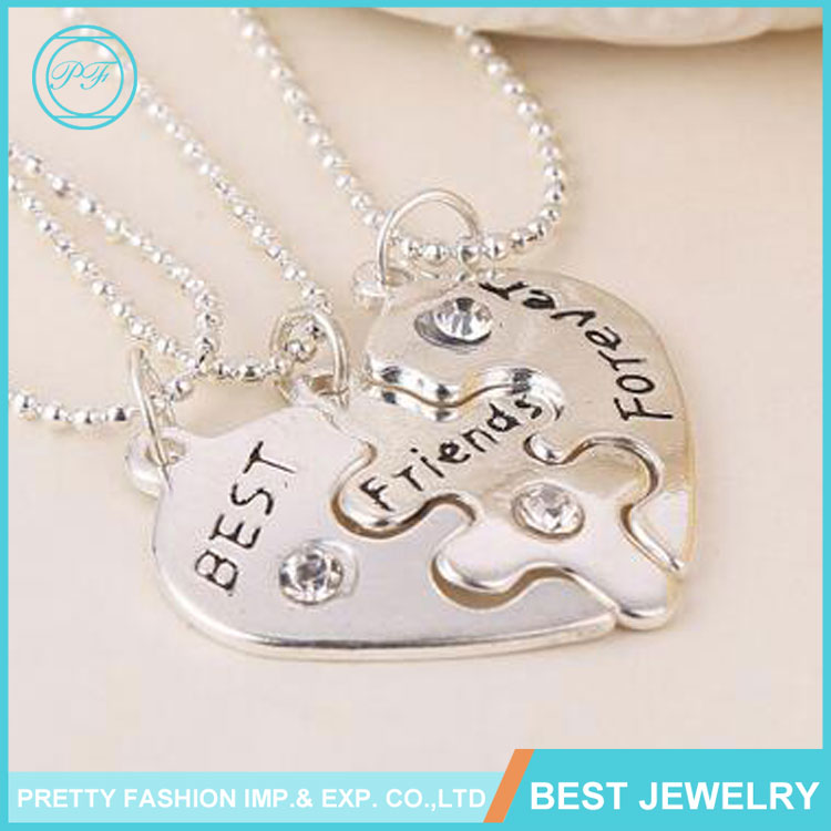 New Design Jewelry Three Parts Heart Shape Best Friends Forever Necklace