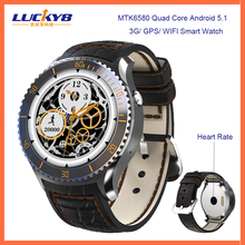 Wholesale Round android smart watch, MTK6580 Quad Core 3G smart watch android 5.1,watch phone android wifi 3g