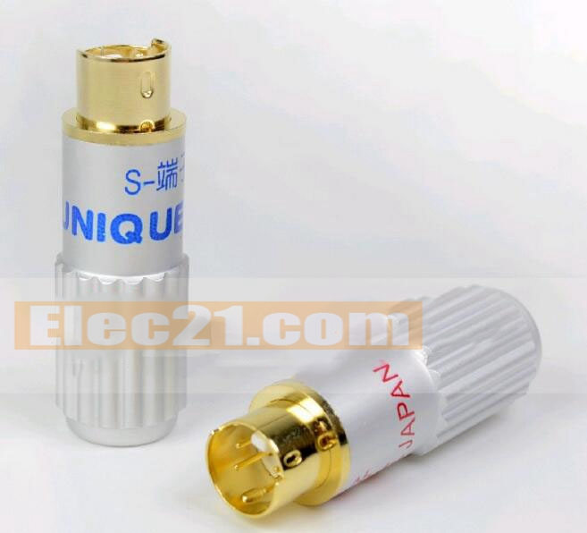 S terminal mini din connector 4 pin gold plated copper plug for audio