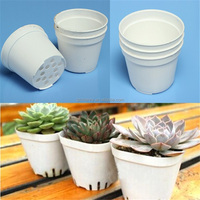 White Round Flower Pots Plastic Plant Succulents Nursery Planters Simple Small Pot Home Garden Potted Decor Wholesale 5.5x6.5cm