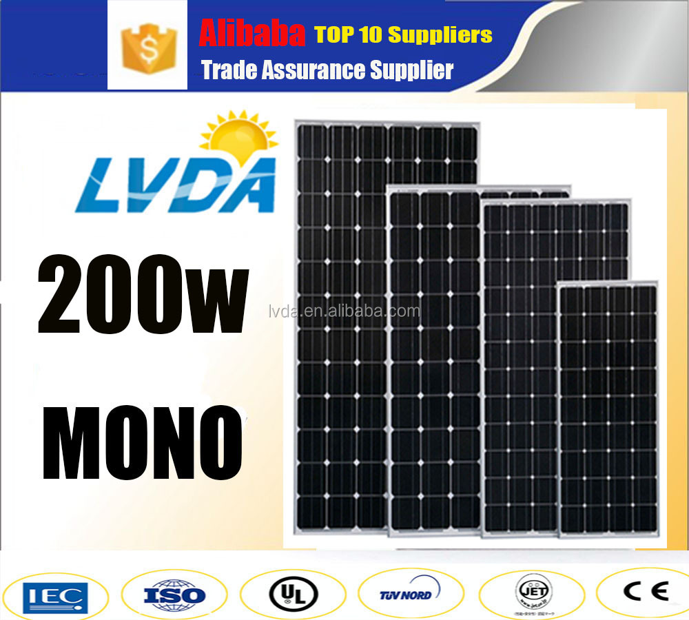 LVDA top 10 suppliers sun light best price high quality solar panel 200w Germany technology mono solar panel for Japan market