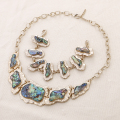 Charm choker statement abalone shell necklace jewelry set