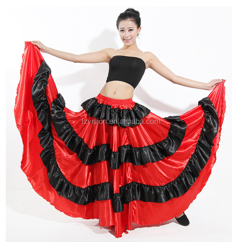 Classic Women's Spanish Dance Costume Gypsies 2pcs Flamenco Dress