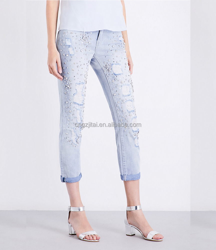 Women's slim-fit high-rise jeans with rhinestones patterns