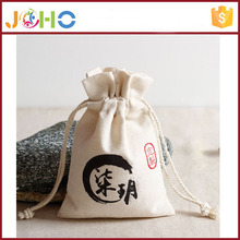 Wholesale 2016 New Fashion High Quality Low Price Organic Cotton Tote Canvas Bag with Drawstring for Food Packing