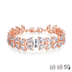 SJB015 New Products Marquise Cubic Zirconia Brass Rose Gold&Silver Wheat Ear Shape Luxury Bracelet for Bridal
